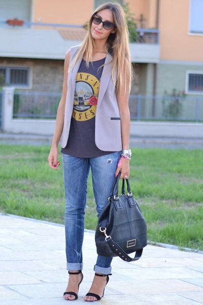 black Givenchy bag - blue Diesel jeans - heather gray Primark blazer