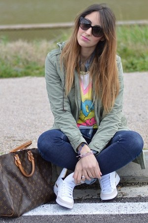 white Primark sweater - navy Cheap Monday jeans - army green parka Rifle jacket