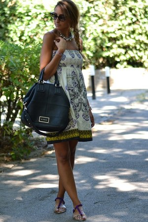 off white Primark dress - black Givenchy bag - purple Dorothy Perkins flats