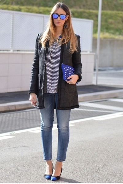 black Sheinside coat - teal Sisley jeans - Zara sweater