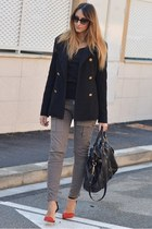 black Stradivarius coat - black Miu Miu bag - black dior sunglasses