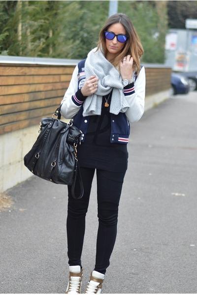 my brand sweater - H&M scarf - Miu Miu bag - Oakley sunglasses