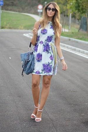 white Primark dress - teal Miu Miu bag - black christian dior sunglasses