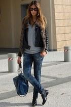 black Church s shoes - navy H&M jeans - blue Miu Miu jeans