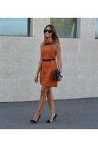 carrot orange Rinascimento dress - black Zara shoes - black Rinascimento bag
