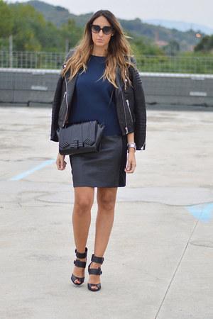 black leather H&M jacket - black Zara bag - black christian dior sunglasses