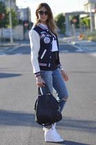navy varsity Oasapcom jacket - turquoise blue ripped Miss Sixty jeans