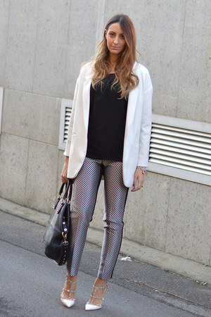 black Givenchy bag - white Zara coat - black QL2 blouse - black QL2 pants