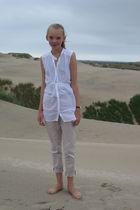white Zara shirt - beige GINA TRICOT pants - black casio accessories