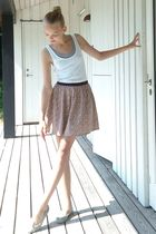 white H&M dress - silver H&M top - pink Christina Rohde skirt - blue Anniel shoe