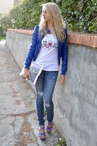 hollister jeans - H&M jacket - DIY bag - LYN heels - Pimkie t-shirt