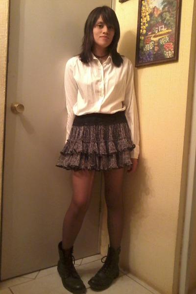 black rocker boots boots - heather gray leggings - black skirt - white blouse