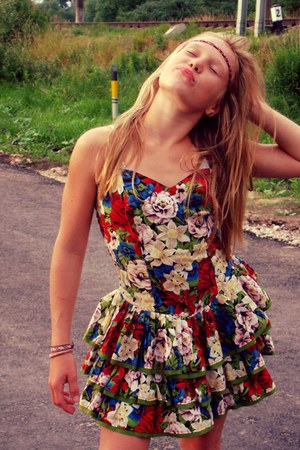 floral print unknown dress - a head band unknown accessories