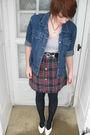 Blue-thrifted-jacket-gray-shirt-black-belt-red-home-made-skirt-black-sto
