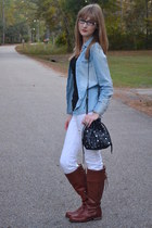 brown Vince Camuto boots - white Aeropostale jeans - black Nine West bag