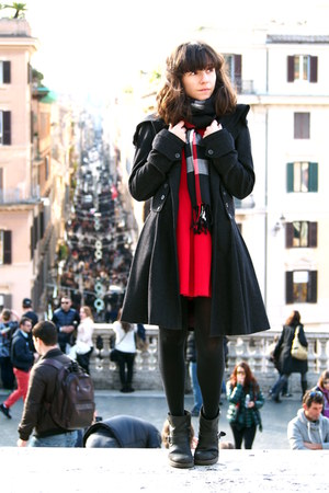 black GOLF coat - black asos boots - red Zara dress