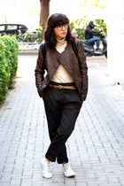 dark brown Zara jacket - dark gray Zara pants - camel Forever 21 jumper