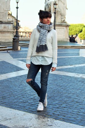 blue Zara jeans - ivory Forever 21 sweater - sky blue Zara shirt