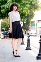 white H&M shirt - black castro skirt - navy asos heels