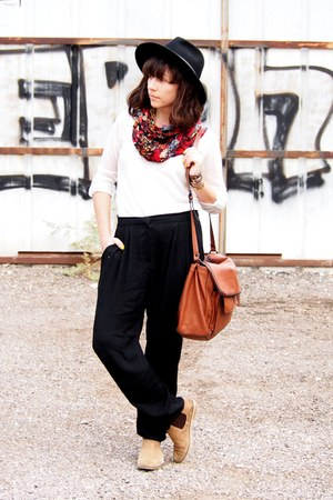 dark khaki asos boots - tawny Zara bag - black Mango pants