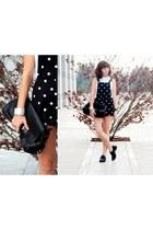 black Zara bag - black asos flats - black H&M romper - white Forever 21 top