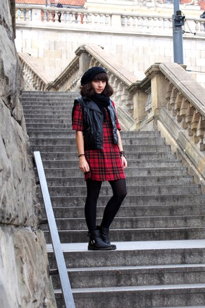 black asos boots - ruby red Forever 21 shirt - black H&M vest