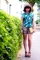 tan H&M hat - green Lefties shirt - tan Forever 21 shorts