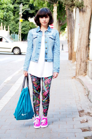turquoise blue nike bag - hot pink Primark sneakers