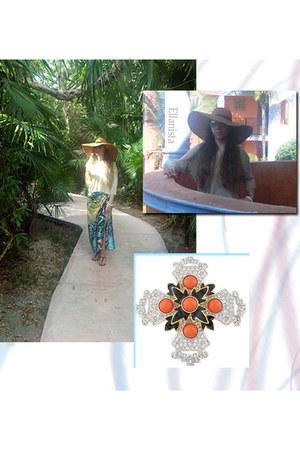 light brown 70s floppy hat hat - purple Old Navy sandals - Ellanista skirt
