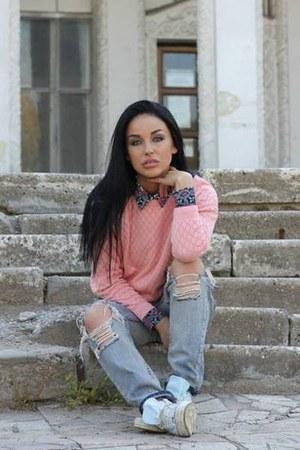 periwinkle Zara jeans - Forever New shirt - pink Zara sweatshirt