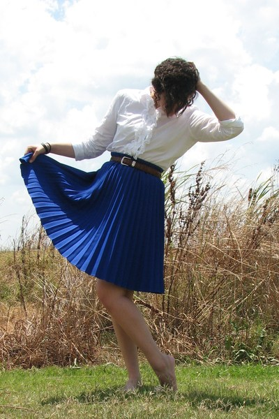 thrifted skirt - American Living blouse - thrifted belt