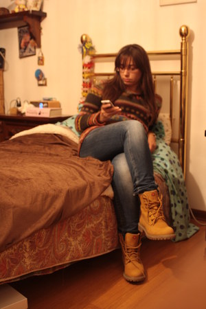 mustard boots - navy Gas jeans - Piazza Italia sweater - red Valentino glasses