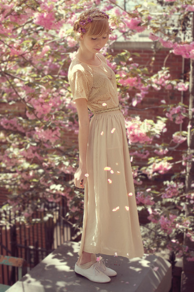 beige maxi chiffon American Apparel skirt