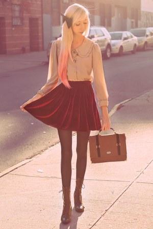 crimson velvet American Apparel skirt - black vintage boots