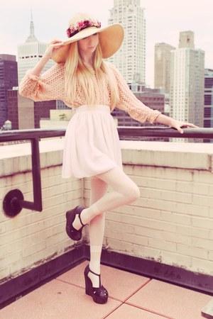 romwe hat - nude crochet lace American Apparel blouse