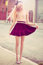 Crimson-velvet-american-apparel-skirt-peach-floral-corset-urban-outfitters-top