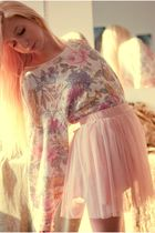 pink VintageThrifted sweater - pink Forever 21 skirt