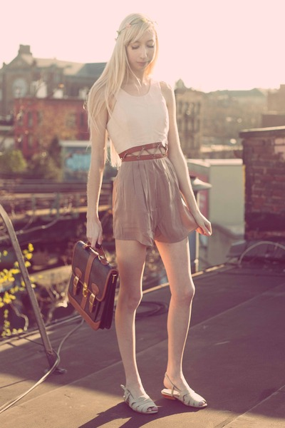 beige lace-up romper - black satchel bag