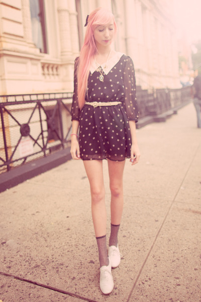 black miss patina dress - silver sparkly Urban Outfitters socks
