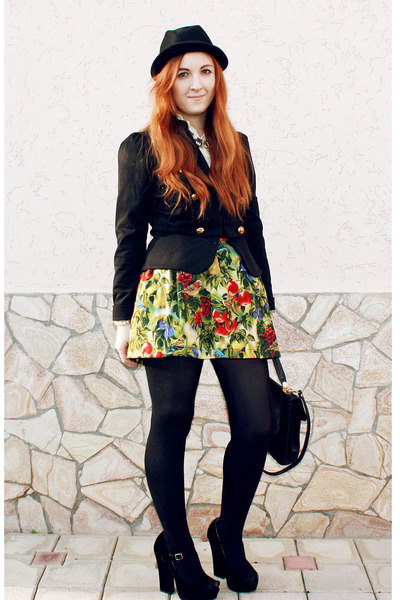 chartreuse korea skirt - black H&M hat - black Atmosphere blazer