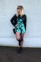 black new look bag - black new look boots - turquoise blue Motel Rocks dress