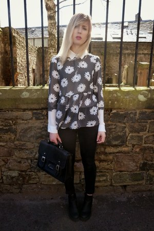 white Primark top - black new look boots - black Miss Selfridge jeans