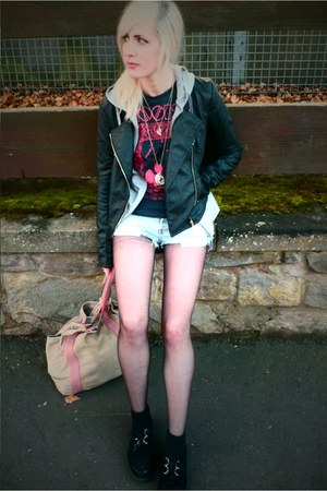 thrifted shorts - black creepers Ebay shoes - leather jacket Primark jacket