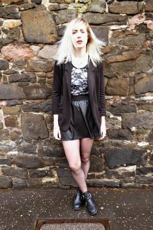 black Topshop boots - black Primark blazer - white Topshop shirt
