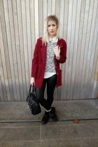 maroon vintage coat - black new look leggings - white Urban Outfitters shirt