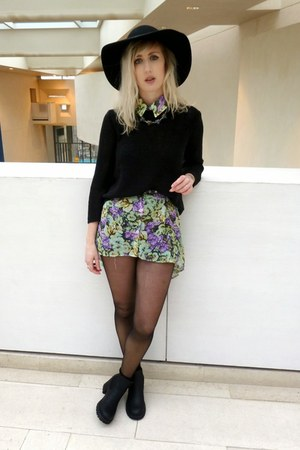 black new look boots - green Oh My Love dress - black wide rimmed hat H&M hat