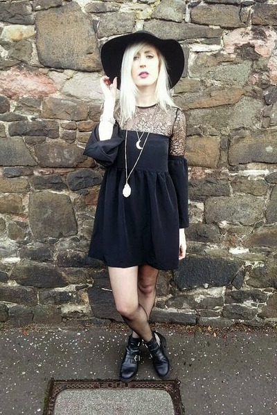 black Topshop boots - black Oh My Love dress - black H&M hat