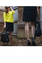 black Urban Outfitters tights - chartreuse Forever 21 sweater