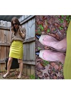 beige ann taylor flats - black Michael Kors bag - black Karen Walker sunglasses