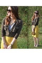 mustard J Crew skirt - gold tory burch bag - heather gray f21 t-shirt